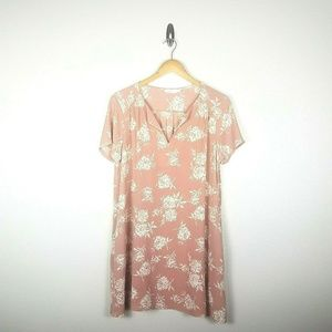 Lush Split Neck Floral Dress sz L Mauve Pink Ivory